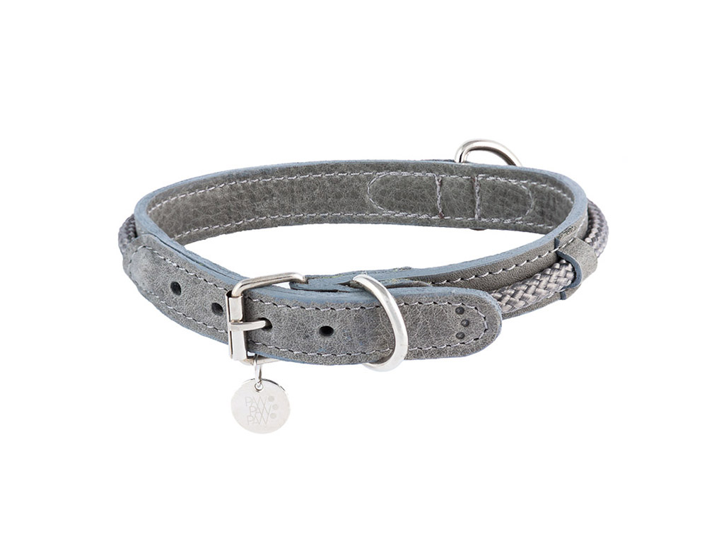 Leather Collar Hafen Grey